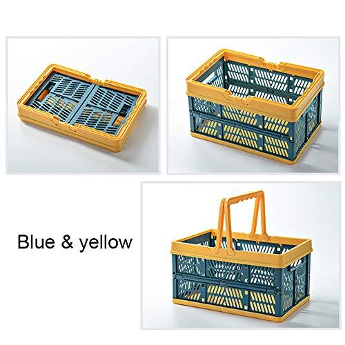JSH Cesta De Compras Portátil Plegable, Cesta De Almacenamiento Multifuncional Cesta De Almacenamiento De Coche De Picnic Al Aire Libre 29.8 * 19.8 * 16.3cm /Azul Amarillo