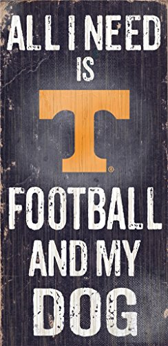 Hall of Fame Memorabilia Tennessee Volunteers Wood Sign - Football and Dog 6''x12''