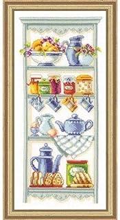 Vervaco Zählmuster Romatisches Küchenregal Zählmusterpackung-Stickpackung im gezählten Kreuzstich, Baumwolle, Mehrfarbig, 16 x 36 x 0.3 cm