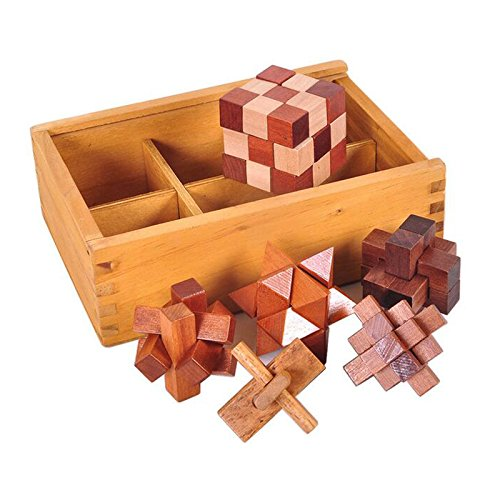Cobeky 6PCS/Set Wooden Puzzle IQ Brain Teaser Burr Puzzles Game Toys Gift for Adults Children