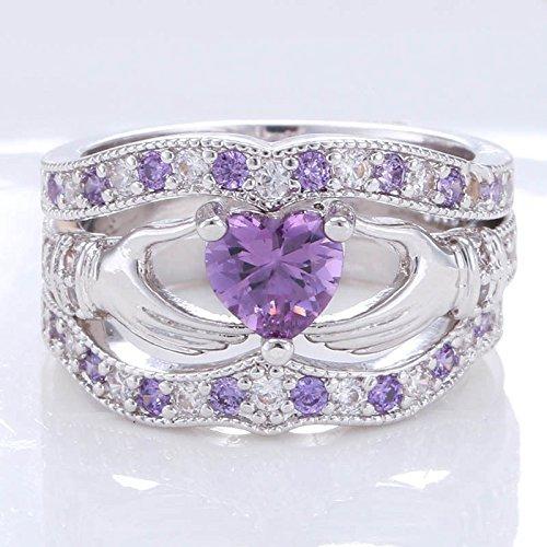 suchadaluckyshop 3PCs Irish Claddagh Celtic Heart Amethyst 925 Silver Wedding Ring Bridal Set New (10)