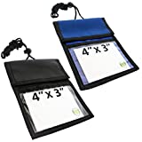 2 Pack - Vaccination Card Holder Travel Passport Wallet - 4 x 3 Display Window - 3 Pockets & Adjustable Lanyard w/ Pen Slots - Immunization Record Protector for Flying, & More by Specialist ID (Assort)