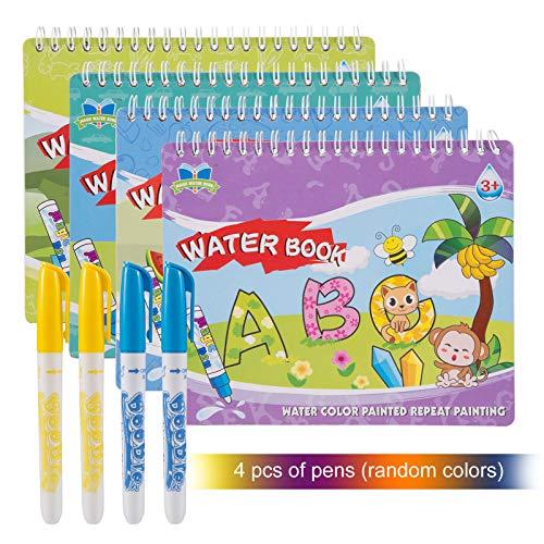Kesote 4 Libros Agua Dibujo Pintura Libro Mágico de Colorear para Niños con 4 Plumas de Pintura Doodle