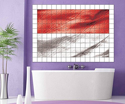 Fliesenaufkleber Indonesien Fahne Flagge Skyline Fliesenbild Fliesen Kachel Fliesenbilder Aufkleber Bad Küche 8A425, Bildformat:135cmx90cm;Fliesengröße:Fliese 25x10cm