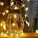 JDD Sterne Lichterketten, 6M 40Pcs LED Batteriebetriebene Lichterketten, Decoration Lightning für Weihnachten Hochzeit Geburtstag Holiday Party Schlafzimmer Indoor & Outdoor (Warm White)