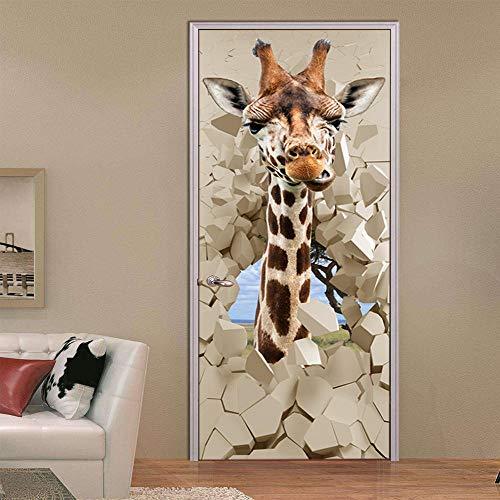3D Deurfolie Deurfolie Pvc Waterdichte Zelfklevende Stickers Pvc 3D Fotobehang Cartoon Giraffe Creatieve Poster Deur Muurschildering Behang -77Cmx200Cm
