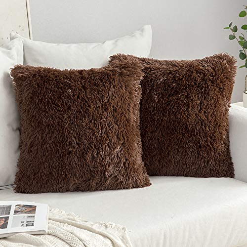 MIULEE Faux Fur Cushion Covers Fluffy Throw Pillow Case Soft Decorative Square Cute Pillow Plush Case For Livingroom Sofa Bedroom 18 x 18 Inch 45 x 45 cm Chocolate Pack of 2