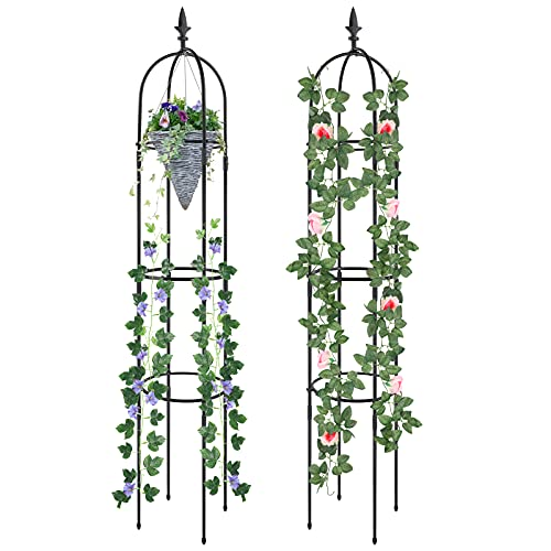 Esbaybulbs Tower Obelisk Garden Trellis 1.76m Tall Plant Support For Climbing Vines And Flowers Stands 2 Pack