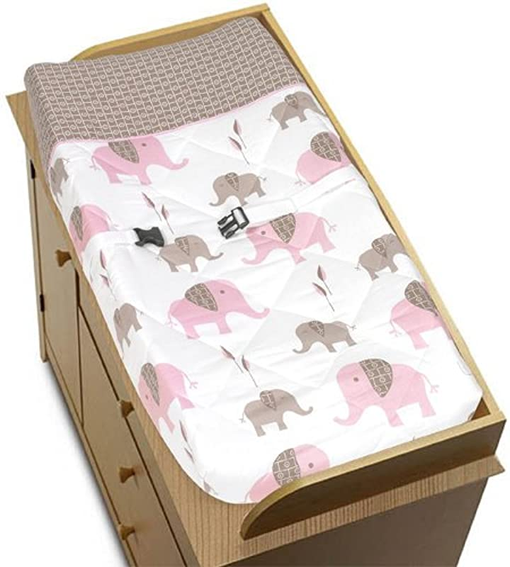 Sweet Jojo Designs Pink And Brown Mod Elephant Baby Changing Pad Cover