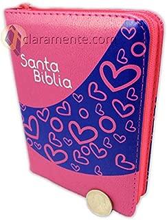 Biblia con Concordancia de tamaño bolsillo con cierre para ninos, Reina-Valera 1960, imitación piel, fucsia con corazones