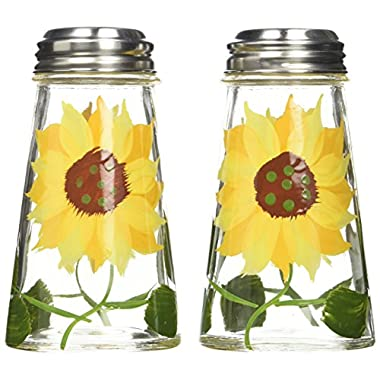 Grant Howard Hand Painted Tapered Salt and Pepper Shaker Set, Sunflowers, Yellow
