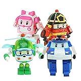 WAWAYU Trǎńsfōrmérs, Transformación 4pcs / Caja Robocar Poli Acion la Figura del Robot Juega el Coche de Bomberos del Manual Deformación Modelo muñeca for los niños (Color : E-4pcs)