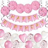 Kit Decoración Fiesta Cumpleaños | Pancarta Happy Birthday, Pompones de Papel, Globos, Globos Confeti, Serpentinas | Conjunto Rosa y Blanco para Celebración de Niña | Pack 43 Piezas