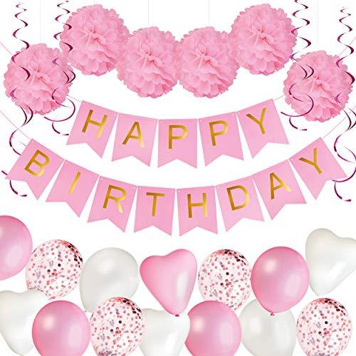 KUUBIA Geburtstagsdeko für Mädchen – Happy Birthday Girlande, Luftballons Rosa, Pompons Rosa – Deko 1. Geburtstag Mädchen – Kindergeburtstag Deko - Geburtstag Deko - Party Deko Set in Pink und Weiß