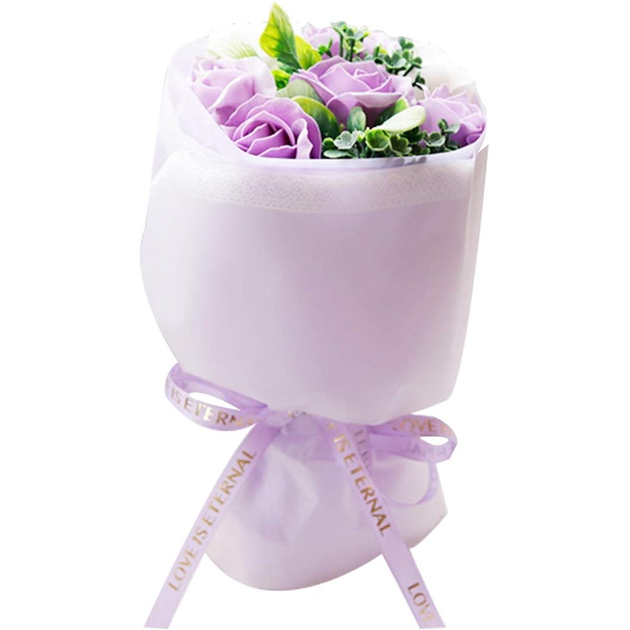 インフレーション首相画面ギフト 花束 ブーケ ソープフラワー 花 バラ 紫陽花 フラワー 造花 結婚祝い 誕生日 記念日 (パープル)