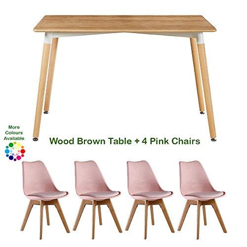 P & N Homewares Lorenzo Esstisch und 4 Stühle Set Retro und modernes Skandinavisches Esszimmer Set Weiß Schwarz Grau Rot Pink Grün mit...
