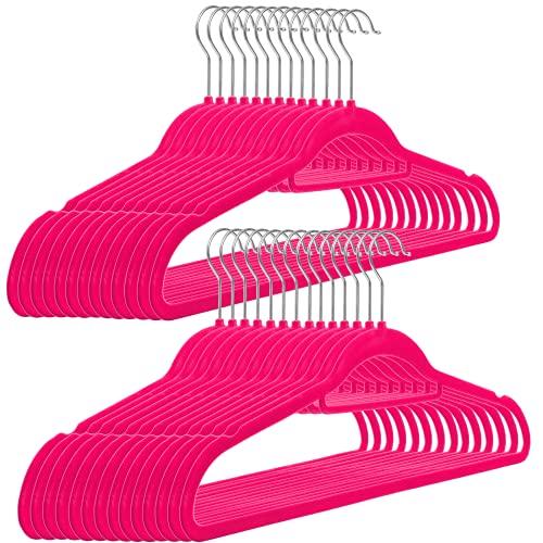 RSR Hangers 25 x Kleiderbügel Samt Pink Anti-Rutsch   Multifunktionsbügel   platzsparend   Anzugbügel   Hemdenbügel   Blusenbügel   rutschfest   360° drehbarer Haken   25-50-100 Stück KM1
