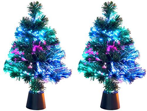Lunartec Weihnachtsbäume: 2 Deko-Tannenbäume, dreifarbige LED-Beleuchtung, Batteriebetrieb, 45cm (Weihnachtsbaum LED)