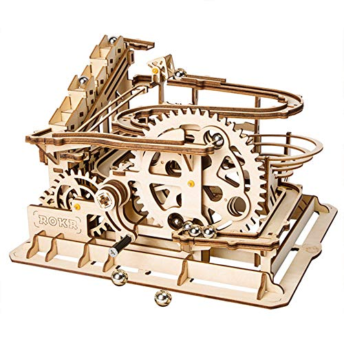 ROKR Hand Cranked Marble Run Wooden Model Kits Assembly 3D Wooden Puzzle Mechanical Model Kits With Balls for Teens and Adults(Waterwheel coaster)