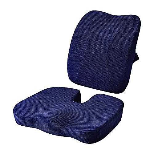 Cojín de espuma viscoelástica para asiento de coche y almohada de apoyo lumbar, cojín de espalda, cojín de asiento de coche, cojín de coxis para dolor de coxis, conjunto de cojines de silla