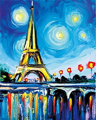 GFSJJ Puzzle 5 Años Niño Niña 35 Piezas Rompecabezas En Madera para Adultos Kids Infantiles Adolescentes para Niños 3 Años (15 X 10 Cm) Torre Eiffel Cielo Estrellado