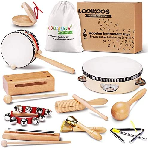 LOOIKOOS Toddler Musical Instruments Natural Wooden Percussion Instruments Toy for Kids Preschool product image