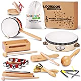 LOOIKOOS Toddler Musical Instruments Natural Wooden Percussion Instruments Toy for Kids Preschool...
