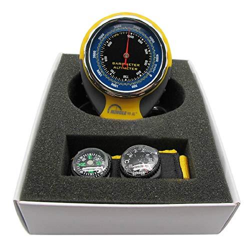 FairytaleMM Barometro ad altimetro Multifunzione 4 in 1 con termometro a Bussola per Esterno (Colore: Giallo e Nero)