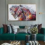 Pintura nostálgica de gran tamaño impresiones en lienzo arte de pared póster nórdico sobre decoración de caballos para bar café quadro 35x70 CM (sin marco)