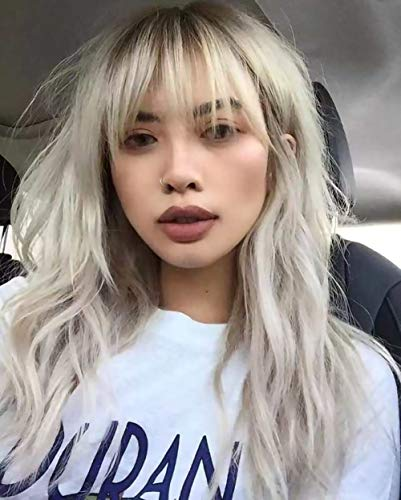 Silver Gray Wigs with Bangs Long Curly Wavy Wigs...