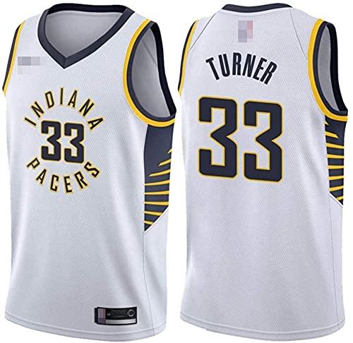 Ropa Jerseys de baloncesto de los hombres, NBA Indiana Pacers # 33 Myles Turner, uniformes de chaleco transpirable suelto Uniformes Classic Comfort Camiseta sin mangas Tops, Blanco, XL (180 ~ 185 cm)