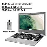 2020 Samsung Chromebook 4 Laptop Computer 11.6' HD Display, Intel Celeron N4000 Processor, 4GB RAM, 32GB eMMC, HD Webcam, Intel HD Graphics, Chrome OS, Platinum Titan, 32GB Snow Bell USB Card