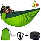 Hamaca de camping (300 x 200 cm) para 2 personas, portátil, ligera, de secado rápido, de nailon, doble hamaca con mosquetones premium, eslingas de nailon, bolsa de almacenamiento para mochilas
