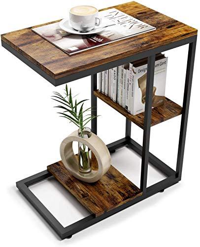 ZXD サイドテーブル コの字型デザイン ベッド コーヒー テーブル リビングサイドテーブル ソファサイドテーブル おりたたみサイドテーブル 幅45×奥行30×高さ55cm 虎の紋