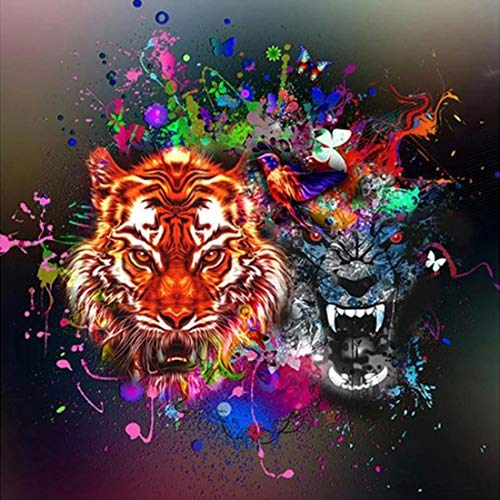 E-Sovinia 2020 Updated 5D Diamond Painting Kits-DIY Full Drill Rhinestone Crystal Embroidery Tool by Numbers, Art Tiger and Wolf Cross Stitch for Adults and Kids, 13.7X 13.7 inch (Animal)
