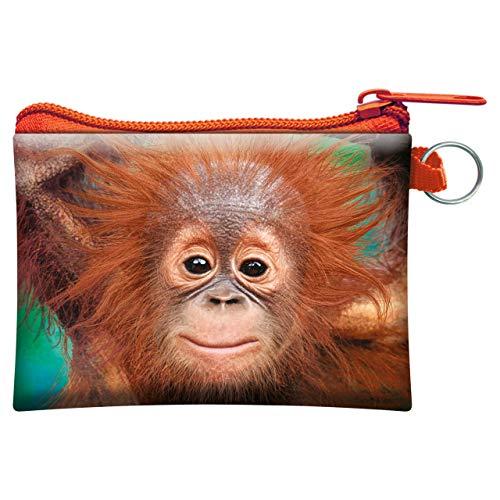 3D LiveLife Monedero - Bebé orangután de Deluxebase. Monedero lenticular 3D con diseño de Mono. Monedero con Cremallera y Tarjetero Estampado con Obra de Arte del reconocido Artista David Penfound