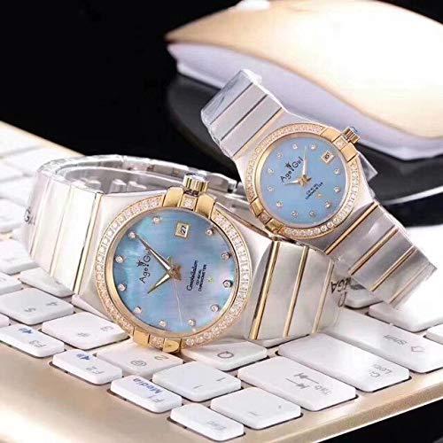 HHBB Marca de lujo relojes oro diamante bisel azul perla dial automático mecánico acero inoxidable zafiro reloj hombre tamaño