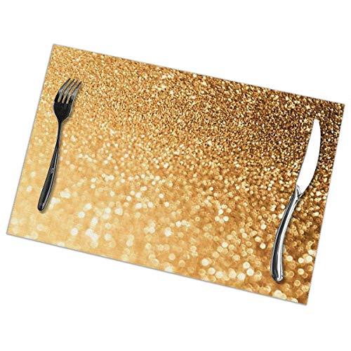 Manteles Individuales Lavables Salvamantele Individuales PVC Brillo de Rubor Dorado,Antideslizantes Resistente al Calor Juego de 6 para la Mesa de Comedor de Cocina 30x45cm