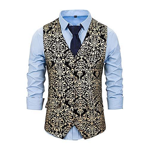 NDY Shirt Männer Solid Color V-Ausschnitt Design Doppelreiher gebrochen Blumendekoration Slim Fit Comfort Ceremony Kleidung Anzug Weste Kreative Trend (Color : Gold, Size : L)