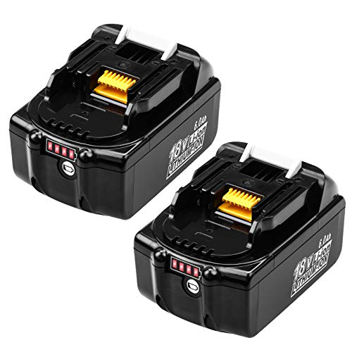 2 Packs 6.0Ah BL1860B Replacement for Makita 18V Battery with LED Indicator Compatible with Makita 18 Volt LXT Battery BL1860 BL1850 BL1850B BL1840 BL1840B BL1830 BL1830B BL1815 BL1815B LXT-400