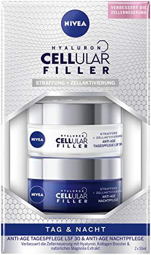 NIVEA Hyaluron Cellular Filler Kit anti-âge et nuit (2 x 50 ml) avec soin de jour SPF 30 & soin de nuit, soin du visage avec acide hyaluronique, booster de collagène et extrait de magnolia