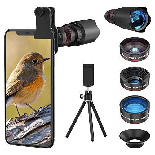 Selvim Telefoon Camera Lens Kits 9 in 1: 22X Telephoto Lens, 235° Fisheye Lens, 25X Macro Lens, 0.62X Wide Angle Lens, Compatibel voor iPhone 11 10 8 7 6 Plus X XS XR Samsung Galaxy