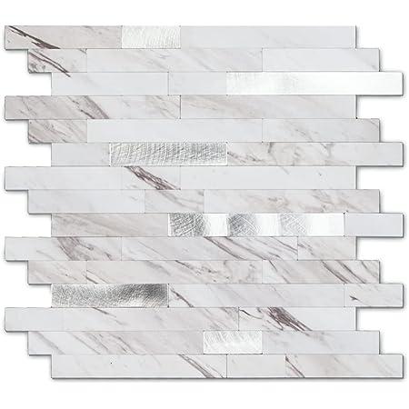 Peel and Stick Stone Metal Tile Backsplash, Stick on Kitchen Backsplash (12'' X 12'', 5 Sheets in Carla)