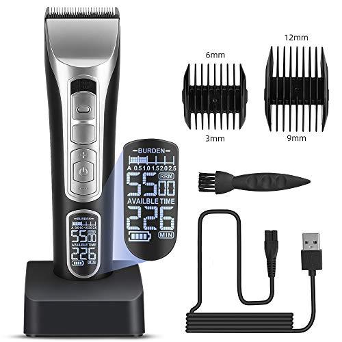 Cortapelos profesionales para hombres, inalámbrico, recargable, kit de corte de pelo eléctrico...