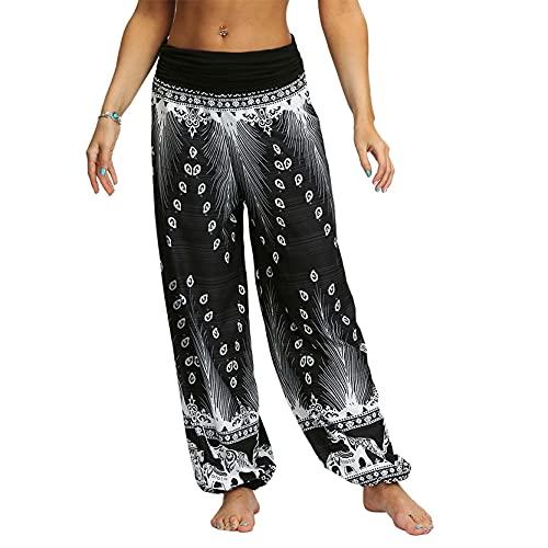 Leggins Mujer Fitness Mallas Gimnasio Pilates, Hacienda de mujer Boho Boho Modelo Hippie Harem Pantalones Damas Alta Cintura Alta Yoga Pilates Pantalones Verano Comfy Bohemian Lounge Pantalones para R