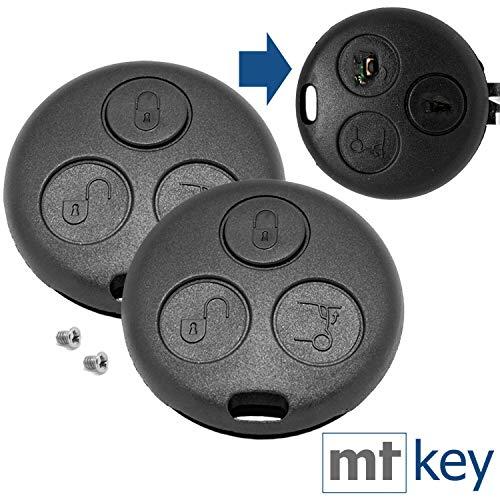 Auto Schlüssel Funk Fernbedienung 2X Gehäuse 2X passende Schraube kompatibel mit SMART Fortwo 450 1998 bis 2007