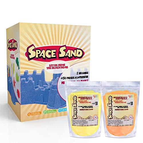 UMOI Space Sabbia, Beach Sabbia 2kg Super Sabbia 50tlg. molte forme, Numeri, lettere, utensili per modellare, modello ierwanne Ampia scelta di colori