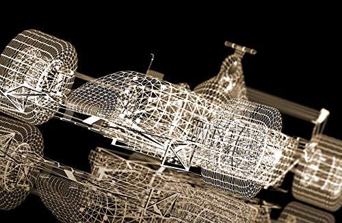 Fototapete selbstklebend | Formel 1 Rennwagen - sephia 420x270 cm - Wandbild Wohnzimmer - Auto Bild Abstrakt 3D