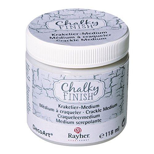 Rayher 38878000 Chalky Finish Krakelier-Medium, farblos, Dose 118ml, für antike Reißeffekte,...