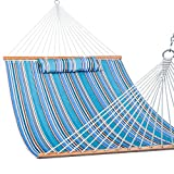 Lazy Daze 12 FT Quilted Fabric Double Hammock with Spreader Bars and Detachable Pillow, 2 Person...
